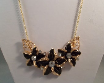 Gold Tone Pendant Choker Necklace with Black Flowers and Clear Rhinestones on a Gold Tone Chain
