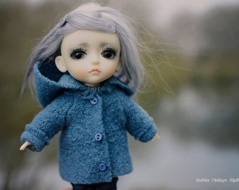Stone blue pure boiled wool coat with hood to fit lati yellow, pukifee and Middie Blythe size dolls