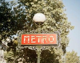 Paris travel print, Red metro photograph, Art Nouveau design, Paris subway signpost, Square photo print, green and red photo, gift under 50