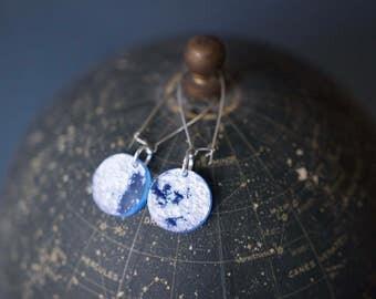 Mini Moon Earrings: Laser Engraved NASA Moons In Glowy Blue
