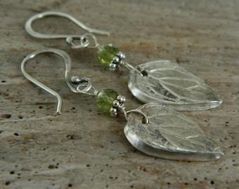 Fine Silver Mint Leaf and Peridot Earrings