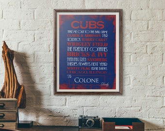 Chicago Cubs Print or Canvas. Mens Personalized. personalized cubs. . 2016 world series. chicago cubs 2016. wrigley field canvas. cubs