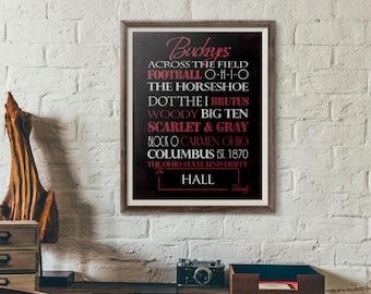 Ohio State Buckeyes Print or Canvas. osu buckeyes. ohio state. ohio state decor. buckeye. Graduation gift for buckeye.