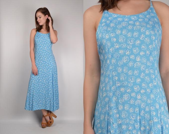 Vintage Floral Midi Dress w/ open back