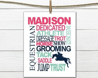 Equestrian Print -  Personalized - Horse Print - Canvas Available
