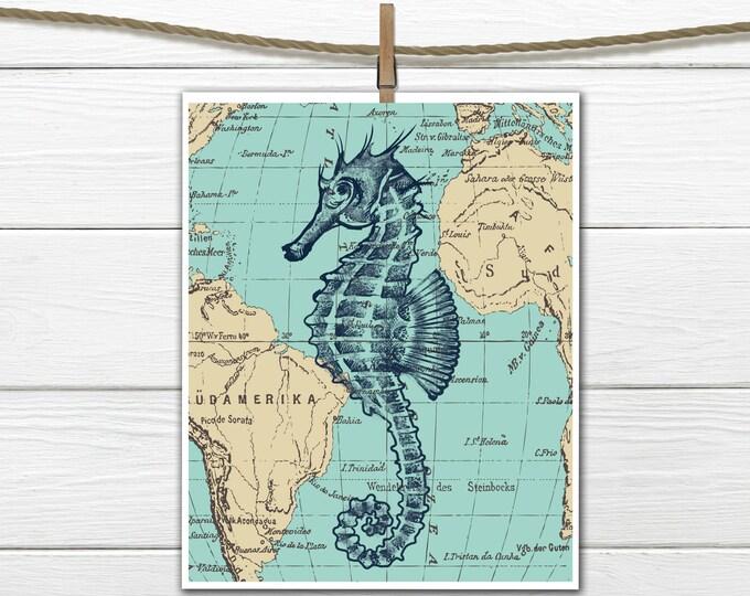 Nautical Decor - Seahorse Printable  - Dorm Decor - 8 X 10  INSTANT Download