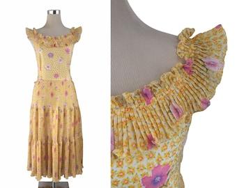 Yellow Floral Dress - 70's Dress - 1970's Vintage Dress - Midi Dress - Summer Dress - Trevira Ruffles Dress