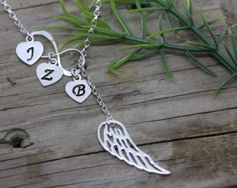 Infinity necklace, Wing necklace, custom necklace choose initial and/or birthstone. Mothers necklace, lost loved one MonyArt original design
