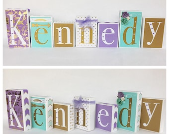 Lavender, Gold, & Mint Boho Chic Personalized Baby Blocks