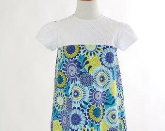Easter Dress  Girls Size 5 Retro Hippie Short Sleeve Floral A Line Shift Dress Spring Summer Aqua Blue White Lime Green Ready To Ship OOAK