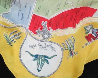Ride Em Cowboy Scarf - Rodeo Souvenir Scarf - California Rodeo Salinas - Vintage Rodeo - Western Rodeo Memorabilia - Free Shipping - 5PTT17