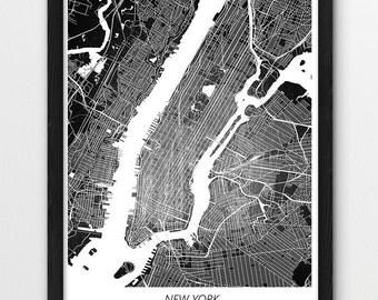 New York Map Print, New York Poster Print, New York Manhattan Digital Urban Street Print, Home Nursery Room Wall Office Printable Art Decor