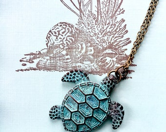 Turtle necklace - copper patina turtle - ocean lover gift