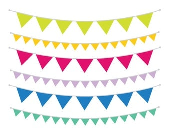 Single Color Bunting Banner Clip Art Set | Flag String Decoration Party Graphic | Digital Vector Border | Personal or Commercial Use