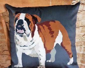 Handmade Slate Grey Velvet British Bulldog Square Cushion With Or Without Inner