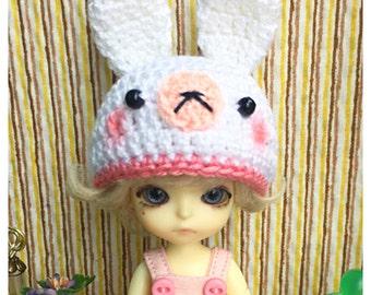 "Doll Hat for Lati White & Petite Blythe : ""Bunny Hat"" (Crochet Hat)"