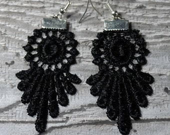 Black Lace Earrings - perfect for Little Black Dress
