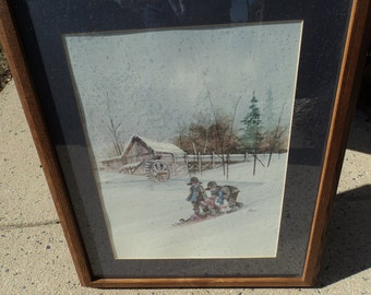 Print of Amish children sled riding on their farm