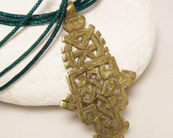 Ethiopian Brass Coptic Cross Necklace, Christian Jewelry , Ethnic African Necklace