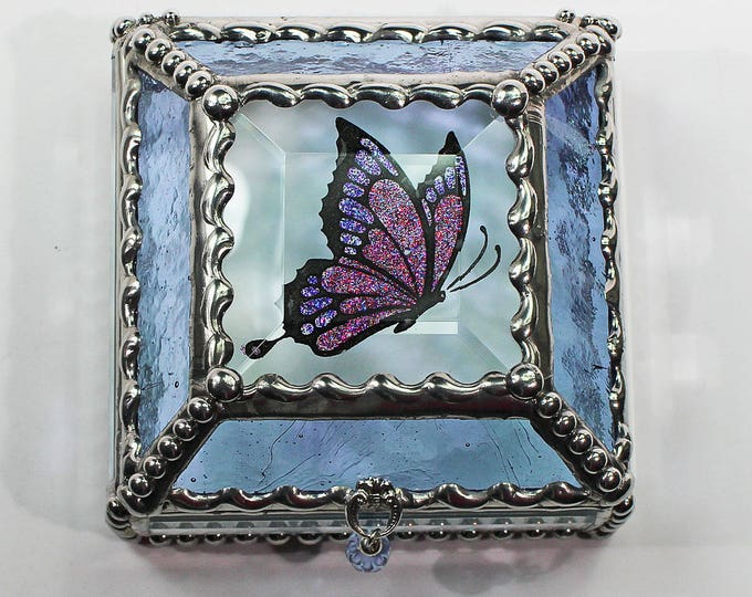 Butterfly 3x3 Etched Hand Painted Glass Jewelry Box Hand crafted, Gift Box