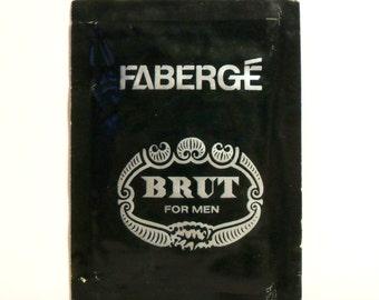 Vintage 1970s Brut by Faberge Eau de Toilette Sample Towelette Packet COLOGNE