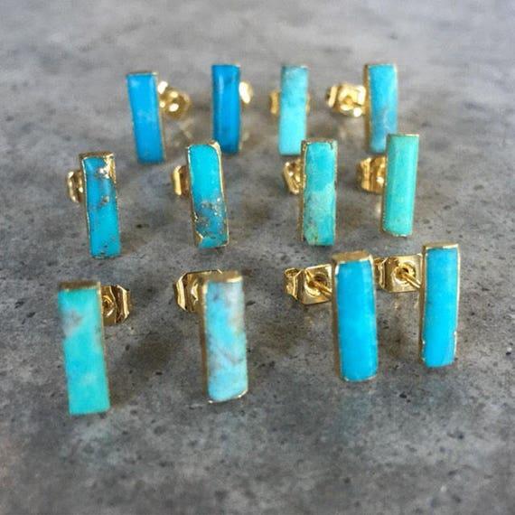 Turquoise Studs, boho jewelry
