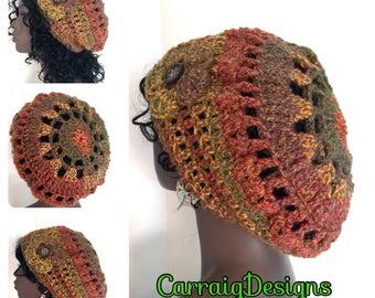 BUY1GET1HALFPrice Womens/teens hand crocheted/knitted oversized slouch dread tam,dreadlocks beret hat,unique mandala fall winter hat hippie