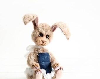 Sale 50% Little Teddy bunny Jenny - OOAK Teddy bear - Easter gift - Collectible bunny bear - Mohair teddy rabbit