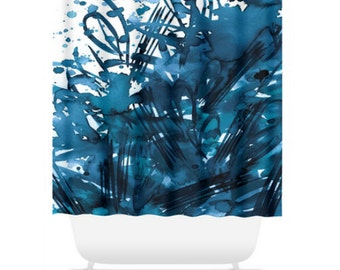 HAPPINESS, BLUE Colorful Art Painting Shower Curtain Washable Decor Monochrome Indigo Navy Blue Swirls Splash Abstract Modern Style Bathroom