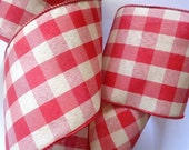 Gingham Extra Wide Wired Ribbon, Red, 4 inch wide, 1 yard, For Adornments, Gift Packing, Wreaths, Center Pieces, Home Decor