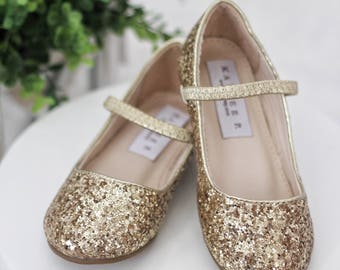 Infant Girl Shoes, Toddler Shoes, Little Kids & Big Kids Shoes - Gold Rock glitter maryjane flats - for flower girls, fairies, and princess