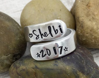 Senior Ring - Class of 2017 Ring - Graduation Gift - Grad Ring - Graduate Ring - Hand Stamped Wrap Ring - Personalized Ring