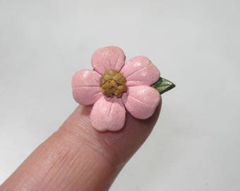 Vintage Pink Flower Pin - Leather Floral Brooch Jewelry - Retro Canadiana Souvenir