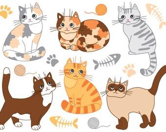 70% OFF SALE Cat Clipart - Digital Vector Cats, Fish, Paw Print, Yarn, Cats Clip Art