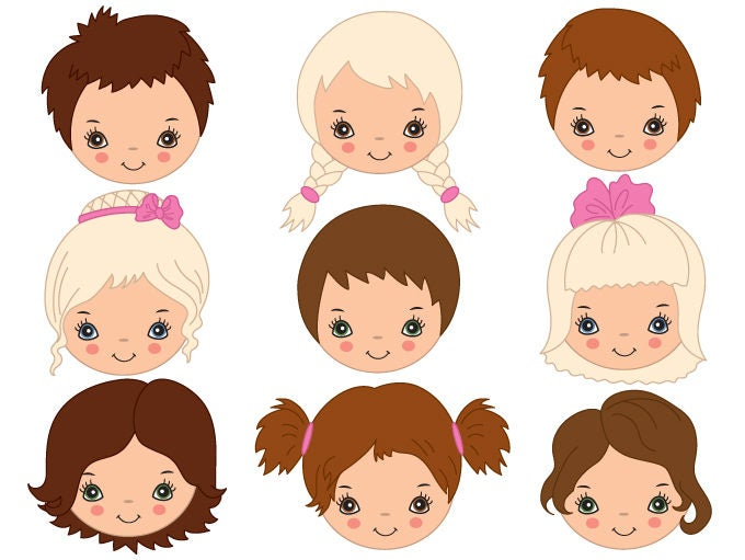 Kids Faces Clipart - Digital Vector Girl, Boy, Child ...