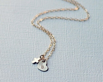 Tiny Cross Necklace, Dainty Layering Necklace, Christening Gift, Communion Gift, Confirmation Gift, Gold, Silver, Rose Gold