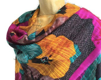 Designer Wool Silk Wrap Shawl Emanuel Ungaro for Newiman Marcus Pansies Vivid Color Bold Design Large