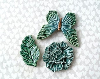 Turquoise Butterfly & Carnation - Ceramic Tile