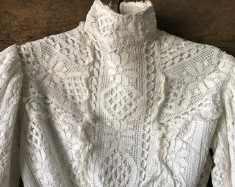 Victorian White Lace Girls, Childs Blouse, Lace Jacket, Floral Lace, Handmade, Period Costume