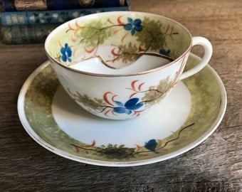 Antique German Mustache Tea Cup and Saucer, Porcelain Floral Transfer, Made in Germany