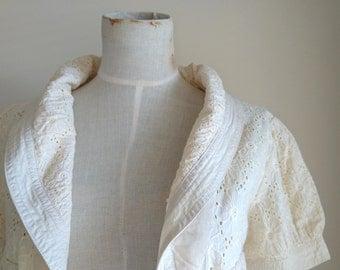 French Designer Chloe Blouse, Small, Cream, 100% Cotton