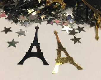 15 piece gold and black Eiffel Tower mix, confetti / sequins, 15 x 34 mm (32)+