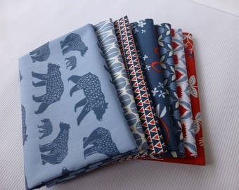 Organic cotton poplin, Monaluna, Simple Life 7 Fat Quarters