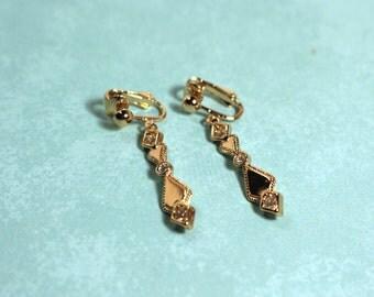 Avon Sparkling Reflection Clip Gold Tone Earrings - Vintage 1990