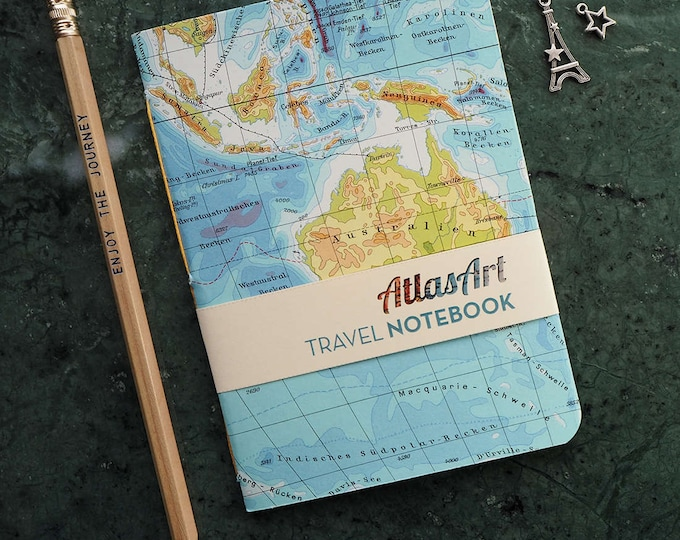 NOTEBOOK SMALL, Australia, Sidney, Brisbane, Tasmania, Melbourne 32p. plain/ruled, travel journal, diary, atlas, map, vintage, upcycling