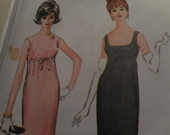 Vintage 1960's McCall's 7043 Dress Sewing Pattern, Size 16 Bust 36