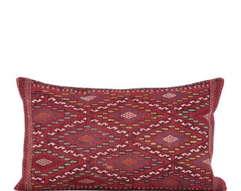 "19"" x 30"" Pillow Cover Kilim Pillow Vintage Kilim Pillow Hand Embroidered Pillow FAST SHIPMENT with ups or fedex - 10806"