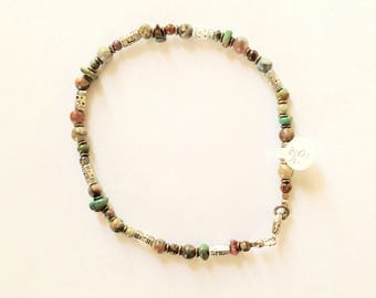 Mens Muted Jasper and Turquoise Beaded Anklet 10 7/8 Inches