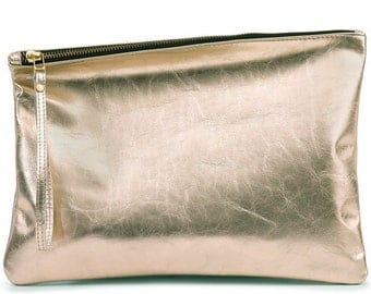Gold leather clutch, evening clutch, gift for her