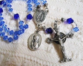 Lourdes Traditional Five Decade Blue Crystal Rosary